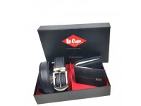 Original Lee Cooper Belt & Wallet Gift Set LGS S003-7139 (Black)