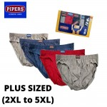 Set of 5pcs Pipers Plus Sized 100% Cotton Underwear For Men (P006-002-002, Random Colour)