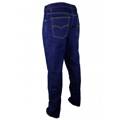 Exhaust Straight Cut Stretchable Jeans B6960912NST (Dark Blue)